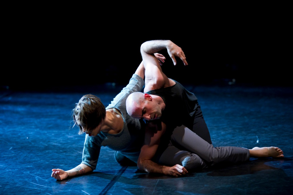 "Dancers Katarzyna Skarpetowska and Brian McGinnis performing in ""Crisis Variations."" Photo by Paula Lobo."